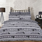 Geo Text Black Reversible Duvet Set