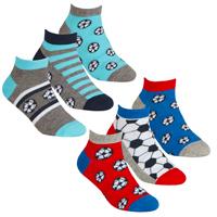 Boys 3 Pack Trainer Liner Socks Football Design