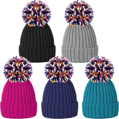 Ladies Rib Knit Bobble Hat With Multi Colour Yarn Pom Pom