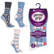 Ladies Gentle Grip Retro Floral Sea Blue Socks