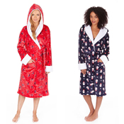 Ladies Christmas Novelty Hooded Dressing Gown