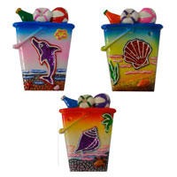 Colourful Seaside Bucket Magnet