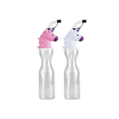 Clear Unicorn Bottle With Straw