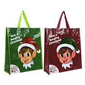Naughty Elf Head Woven Shopping Bag