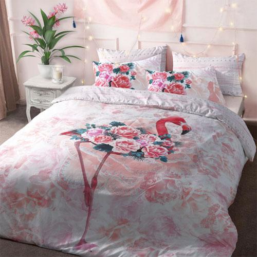 Flamingo Floral Reversible Duvet Set