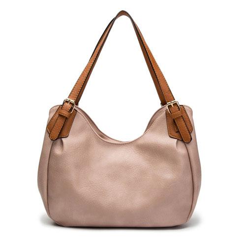 Nichole Buckle Strap Slouch Bag Mink