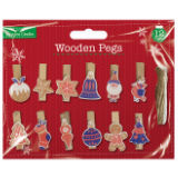 Christmas Wooden Pegs 12 Pack