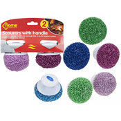 Home Connection Metallic Scourer With Plastic Handle