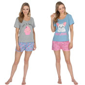 Ladies Shortie Pyjama Set Cupcakes/Bulldog