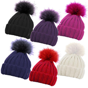 Children's Ribbed Hat with Solid Faux Fur Pom Pom