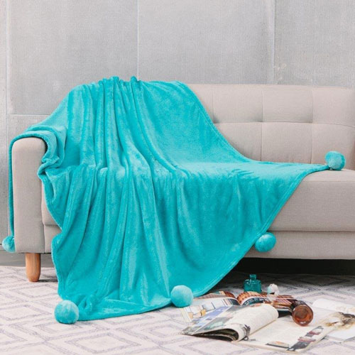 Pom Pom Faux Mink Throw Teal