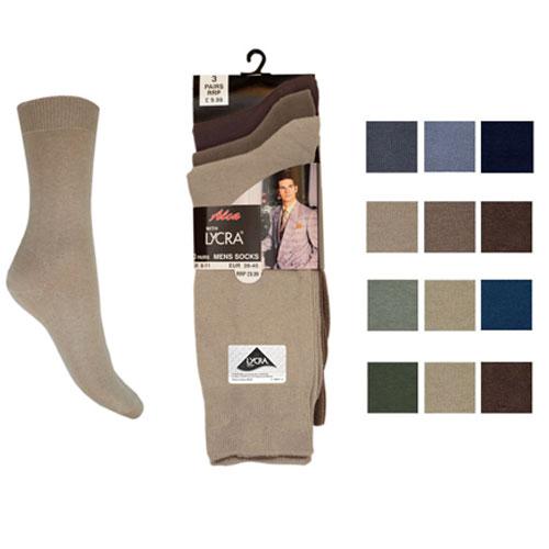 Mens 3 Pack Lycra Socks Aler Carton Price