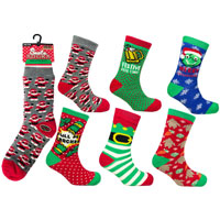 Mens Heat Machine Christmas Santa Slipper Socks Novelty