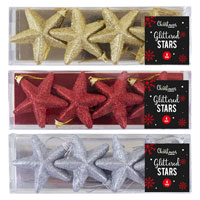 Glittered Star Christmas Tree Decorations
