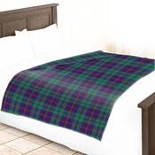 Fleece Blanket Checkered Blue Green