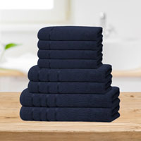 Bear & Panda 8 Piece Cotton Towel Bale Navy