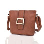 Ladies Janella Square Buckle Crossbody Bag Tan