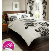 Iris Cream/Black Duvet Set Bedding