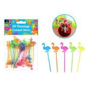 Flamingo Cocktail Sticks Assorted Colours 30 Pack