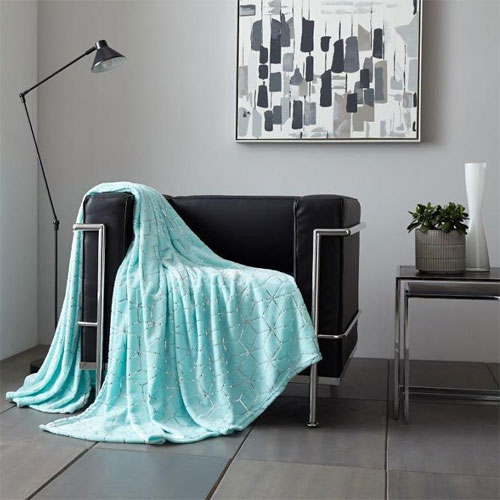 Metallic Cube Faux Mink Throw Mint Green