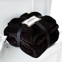 Black Flannel Sherpa Throw