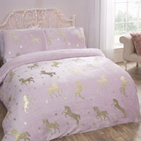 Comfy Fleece Foil Unicorn Duvet Set Blush