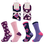 Ladies Cosy Socks With Grippers Assorted Designs