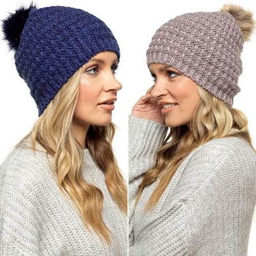 Ladies Soft Beanie Hat With Fur Pom Pom