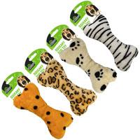 Animal Print Squeaky Bone Dog Toy