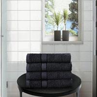 4 Pack Hand Towels Dickens Black