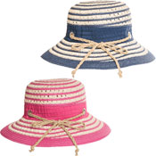 Ladies Short Brim Straw Hat With Self Colour Band