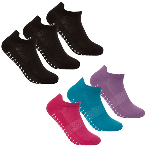 Ladies Gripper Sole Sport Trainer Socks Plain/Pastel