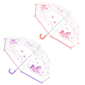 Girls Unicorn Print Clear Umbrella Lilac/Pink