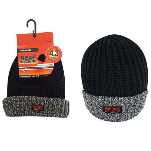 Mens Heat Machine Thermal Hat Black/Grey Carton Price