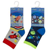 Baby Boys 3 Pack Socks Rockets