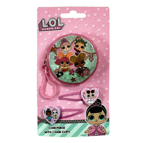Official LOL Round Zipped Coin Purse and Hair Clips