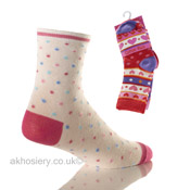Girls Novelty Computer Socks Spot/Heart