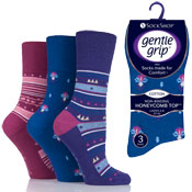 Ladies Gentle Grip Socks Assorted Patterns