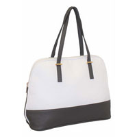 Ladies Contrast Tote Shopper Bag White - Grey