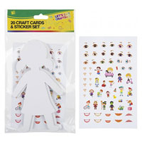 20 Piece Craft Cut Outs With Stickers People