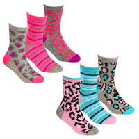 Girls 3 Pack Design Socks Animal Print