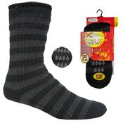 Mens Extreme Thermal Socks Grey Stripe With Gripper 2.45 TOG