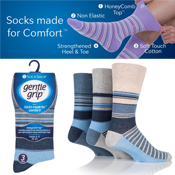 Mens Gentle Grip Socks Blue Stripe