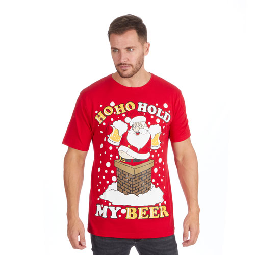 Christmas T-Shirt Red Santa HoHoHo Beer
