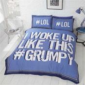 I Woke Up Grumpy Blue Duvet Set