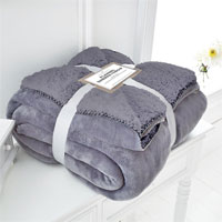 Silver Flannel Sherpa Throw