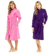 Ladies Polar Fleece Button Through Robe With Rose Embroidery