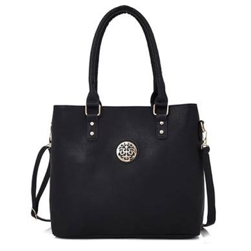 Connie Badge Detail Tote Bag Black