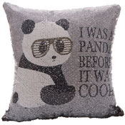 Too Cool Panda Sequin Filled Cushion