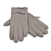 Ladies Leather Gloves With Bow Grey